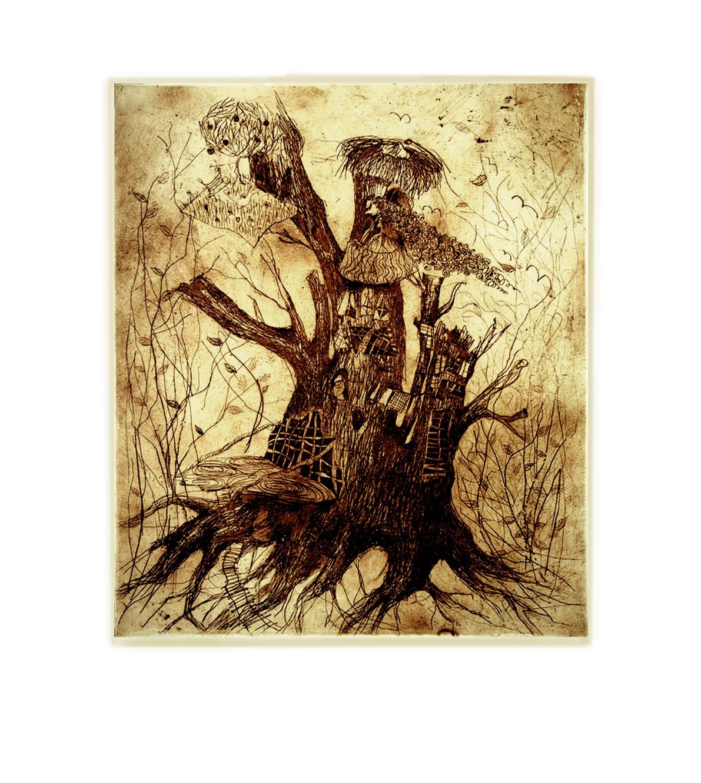 """Akwaforta """"Drewniane królestwo"""" (brąz)"""
